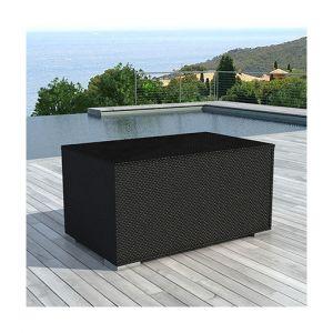 M&S Coffre de rangement en résine tressée 132x63x81 cm noir - LIVOURNE