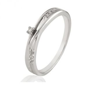 CaraShop 3663644013545 - Bague diamants en or blanc