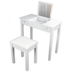 Coiffeuse classique en bois paulownia blanc + tabouret revetu de tissu blanc - L 80 cm - Bois paulownia blanc - L 80 x P 40 x H 76 cm - 1 miroir, 2 tiroirs - 1 tabouret avec assise revêtue de tissu