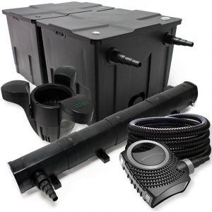 wiltec Kit de Filtration avec Bio Filtre 60000l, 72W UV Stérilisateur, Pompe de Bassin, Skimmer et Tuyau