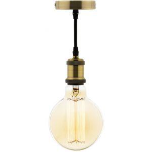 Elexity Kit suspension vintage avec câble textile et ampoule filament carbone Petit globe