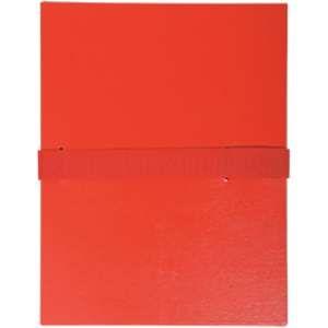Fast 100725681 - Lot de 10 chemises à dos extensible 1 rabat, à sangle et fermeture velcro, coloris rouge