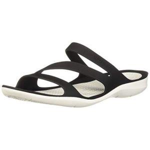 Crocs Swiftwater Sandal W, Sandales pour Femme Noir/Blanc, 34-35 EU