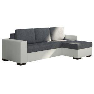 Comforium Canapé d'angle convertible 3 places en tissu gris et cuir synthétique blanc avec coffre méridienne réversible