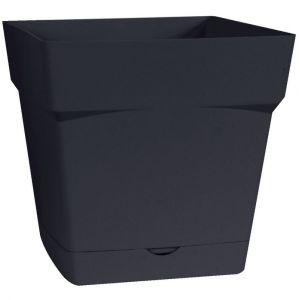 Eda Plastiques Toscane 10,2 L - Pot de fleurs carré avec soucoupe clipsée
