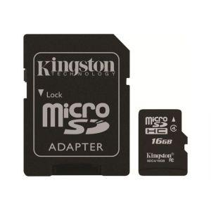 Kingston SDC4/16GBER - Carte mémoire 16 Go Class 4 microSDHC + adaptateur