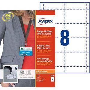 Avery-Zweckform Pochettes pour badges 60x90mm avec lacets x 10