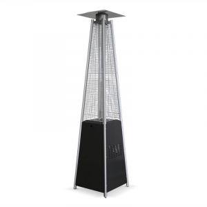 Alice's Garden Chauffage extérieur gaz 13kW Arctic gris, parasol chauffant design, pyramide flamme réelle avec roulettes