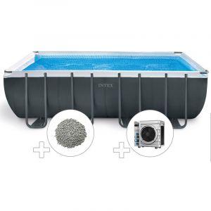Intex Kit piscine tubulaire Ultra XTR Frame rectangulaire 5,49 x 2,74 x 1,32 m + 20 kg de zéolite + Pompe à chaleur