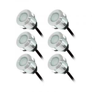 Vision-El KIT 6 Spots LED encastrables terrasse 0,6W 12VAC IP67 Couleur BLEU+ alim