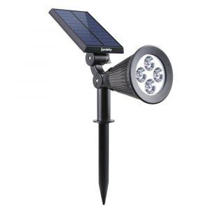 Lumisky Spot solaire extérieur étanche - 4 LEDs - 200 Lm - Tête pivotante à 90°C - 4 LEDs blanches - 200 Lm - 8 à 10 h - Dispose de 2 modes d'éclairage - Tête pivotante à 90°C