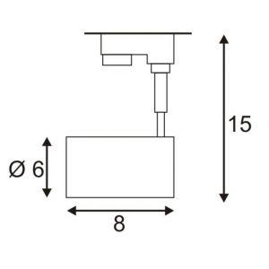SLV Lampe pour système de rail à haute tension Bima I triphasé GU10 50 W Ampoule halogène, LED blanc (mat)