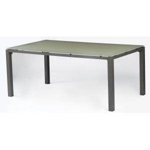 Proloisirs Table de jardin rectangulaire Florence en aluminium et plateau en verre 180 x 100 x 74 cm (B318)