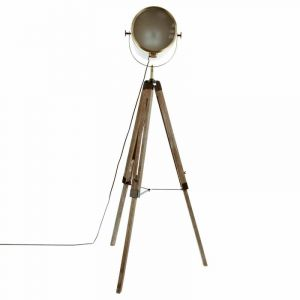 Atmosphera Lampadaire bois et métal Ebor - Hauteur 152 cm - Marron