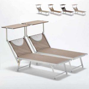 Beach and Garden Design Bain de soleil piscine aluminium transats lits de plage SANTORINI Limited Edition 2 pcs | Cappuccino - Beige Santorini