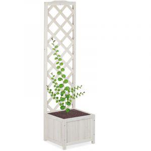 Relaxdays Blanc Jardinière avec treillis espalier Tuteur plantes grimpantes bac à fleur bois vigne rose 25 L, 145,5 cm