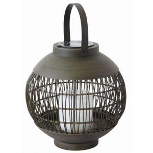 Globo Lampe à boule solaire à LED Bougie noire Lampe suspendue Table d'extérieur Spotlight Terrasse Décoration Lanterne Effet de feu 33286