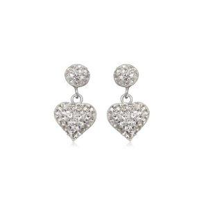 Blue Pearls Cry 8338 T - Boucles d'oreilles Coeurs en Cristal blanc et Argent 925°