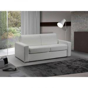 INSIDE Canapé lit 3 places MASTER convertible système RAPIDO 140 cm Cuir Blanc MATELAS 18 CM INCLUS