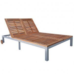 VidaXL Chaise longue en bois d'acacia 207 x 130 x (31-88) cm