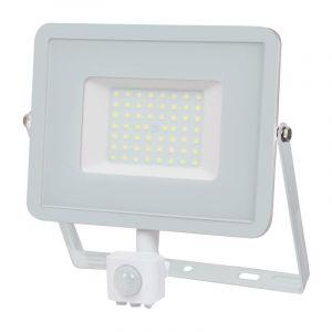 V-TAC 50W avec détecteur de Mouvement Projecteur LED de sécurité extérieur étanche avec Corps Blanc Samsung LED Verre Blanc IP65 4000K Blanc lumière du Jour 4250 Lumens