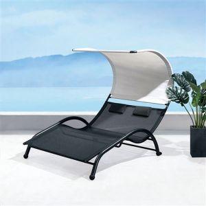 Concept-Usine Ventura : transat double en acier et textilène avec auvent
