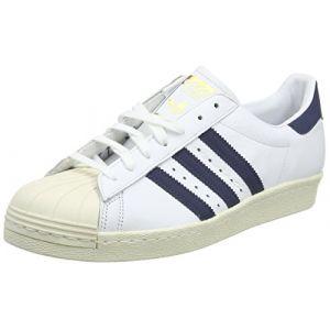 Adidas Superstar 80s, Chaussures de sport homme - différents coloris - Blanc(Running )/Bleu(Trace)/Gris,46