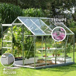 Jardimagine Lams Serre Allium Venus 5,0m² en aluminium naturel et verre trempé 3mm + embase incluse - Natura Lams