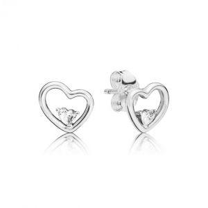 Pandora Boucles d'oreilles Amour 297813CZ - Boucles d'oreilles Coeurs Stylisés Femme
