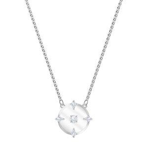 Swarovski : Collier et pendentif 5497232 - Collier intemporel Métal Effet Givré Pavé de cristaux incolores Femme