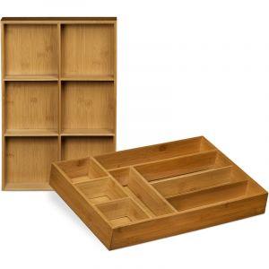 Relaxdays Organiseur de tiroir réglable lot de 2 HxlxP: 6.5 x 30,5 x 46 cm range-couverts ajustable en bois de bambou avec cloison de séparation amovible cuisine bijoux salle de bain, nature - 4052025203306