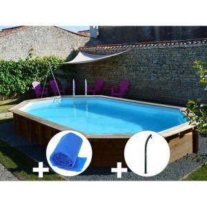 Sunbay Kit piscine bois Safran 6,37 x 4,12 x 1,33 m + Bâche à bulles + Douche