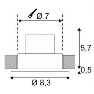 SLV Spot LED encastrable LED intégrée Patta-F 114440 blanc chaud 12 W noir (mat)