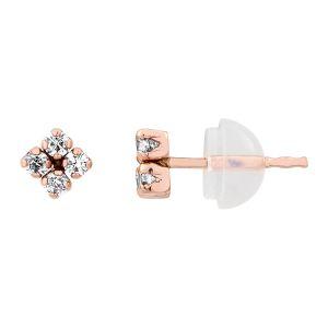 Cleor Boucles oreilles Puces en Or 375/1000 Rose et Oxyde Blanc Enfant multicolor - Taille 36