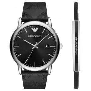 Emporio Armani AR80012 - Montre pour homme avec bracelet en cuir