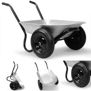 Deuba Brouette de jardin 2 roues avec cuve galvanisée Capacité 150kg / 100 litres