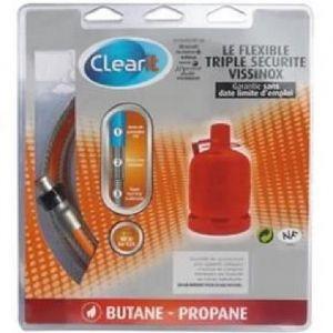 Clearit Tuyau flexible pour butane triple sécurité Vissinox a écrous tournants - 1 m