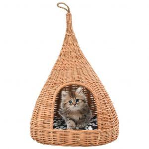 VidaXL Panier pour chats avec coussin 40x60 cm Saule naturel