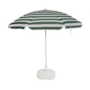 EZPELETA Parasol inclinable Bora - Ø 180 cm - Rayé vert et blanc Socle non inclus