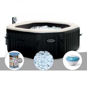 Intex Spa gonflable PureSpa octogonal Bulles et Jets 6 places + 12 Cartouches de filtration + 5 kg de Sel + Enceinte LED