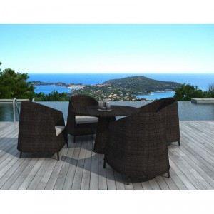 Delorm Design SD2004 - Table de jardin ronde en résine tressée avec 4 fauteuils