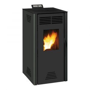 Invicta Adrano Poêle à granulés modulable de 3,1 à 7,3 kW - Acier - Rendement : 90 % - Autonomie : 21 h - Flamme verte 7* - Noir
