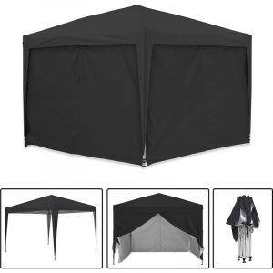 Greaden Tonnelle de jardin noire avec 4 murs 3x3m ECO BRISO Tube 30mm en aluminium & acier Bâche 420D étanche Tente pliante + Sac de transport
