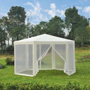 Outsunny Tente de réception hexagonale écru blanc