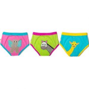 Zoocchini Lot de 3 culottes d'apprentissage TE1 coton bio fille animaux (2-3 ans)