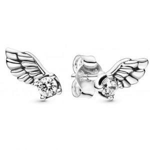 Pandora Boucles d'oreilles 298501C01 - Clous d'Oreilles Ailes d'Ange Scintillantes Argent