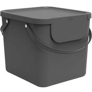 Rotho Albula Système de séparation des déchets 40l pour la cuisine, Plastique (PP) sans BPA, anthracite, 40l (39,8 x 35,8 x 33,9 cm)