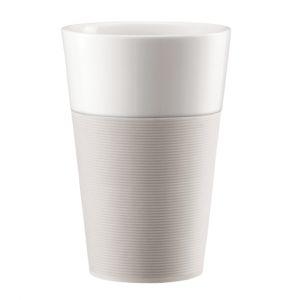Bodum Set de 2 mugs en porcelaine avec bande silicone Bistro 0,6 L blanc creme