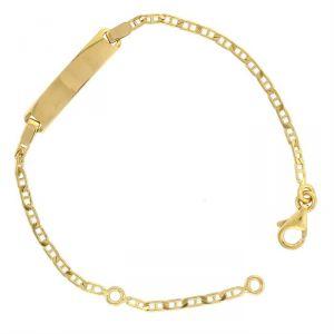 Rêve de diamants CDMC544 - Bracelet identité en or jaune 375/1000 maille marine plate