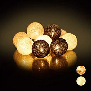 Relaxdays Guirlande Lumineuse LED, 10 Boules Coton, Fonction Piles, Lumières d'Ambiance, Sphères Ø6 cm, Blanc-Gris-Noir